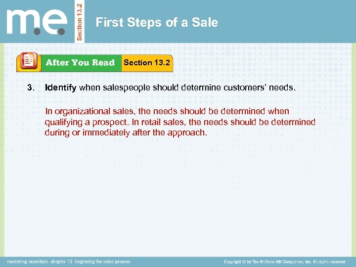 Section 13. 2 First Steps of a Sale Section 13. 2 3. Identify when