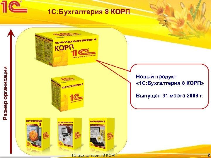 1 С: Бухгалтерия 8 КОРП Размер организации КОРП Новый продукт « 1 С: Бухгалтерия
