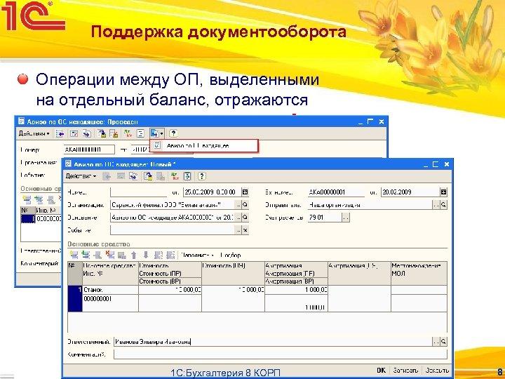 Поддержка документооборота Операции между ОП, выделенными на отдельный баланс, отражаются специальными документами – «Авизо»