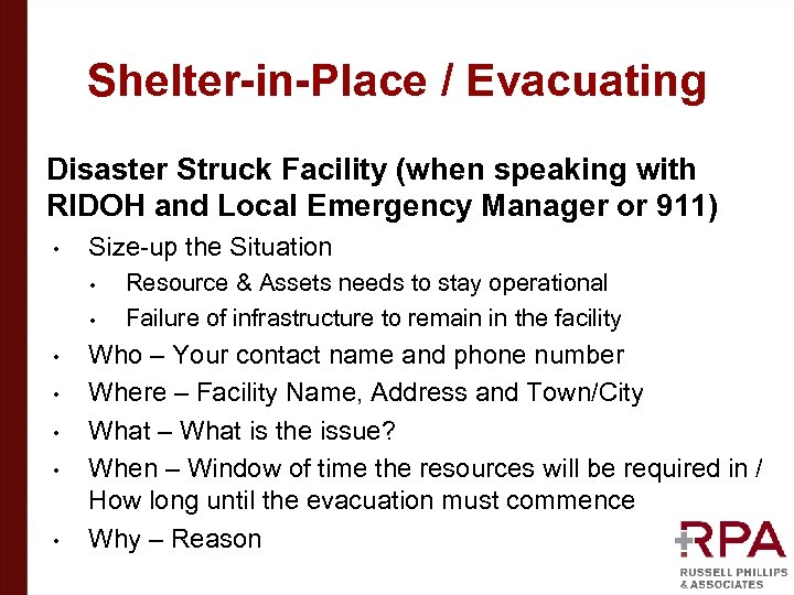 Shelter-in-Place / Evacuating Disaster Struck Facility (when speaking with RIDOH and Local Emergency Manager