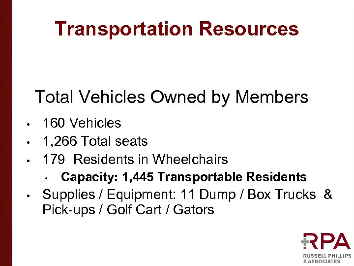 Transportation Resources • • • Total Vehicles Owned by Members 160 Vehicles 1, 266