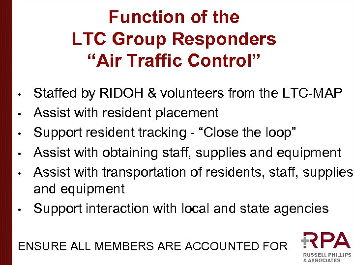 "Function of the LTC Group Responders ""Air Traffic Control"" • • • Staffed by"
