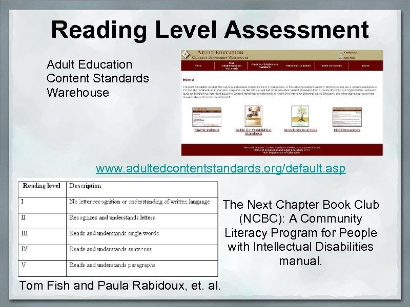 Reading Level Assessment Adult Education Content Standards Warehouse www. adultedcontentstandards. org/default. asp The Next