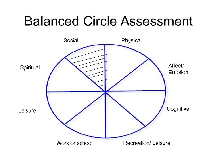 Balanced Circle Assessment Social Physical Affect/ Emotion Spiritual Cognitive Leisure Work or school Recreation/