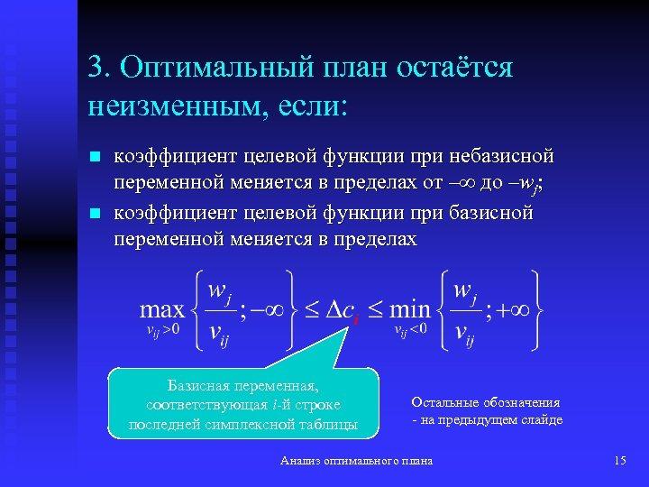3. Оптимальный план остаётся неизменным, если: n n коэффициент целевой функции при небазисной переменной