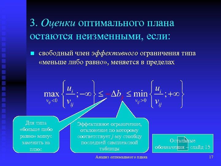 3. Оценки оптимального плана остаются неизменными, если: n свободный член эффективного ограничения типа «меньше
