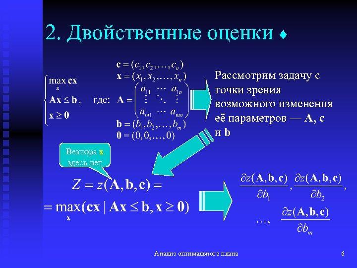 2. Двойственные оценки Рассмотрим задачу с точки зрения возможного изменения её параметров — A,