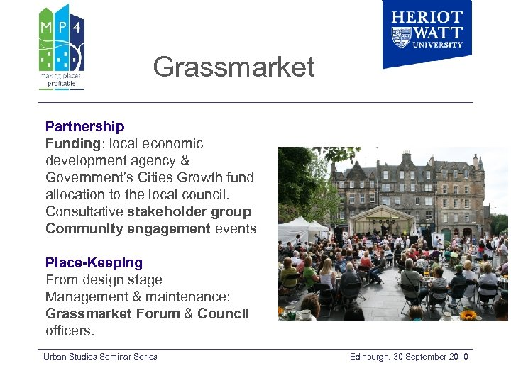 Grassmarket Partnership Funding: local economic development agency & Government's Cities Growth fund allocation to