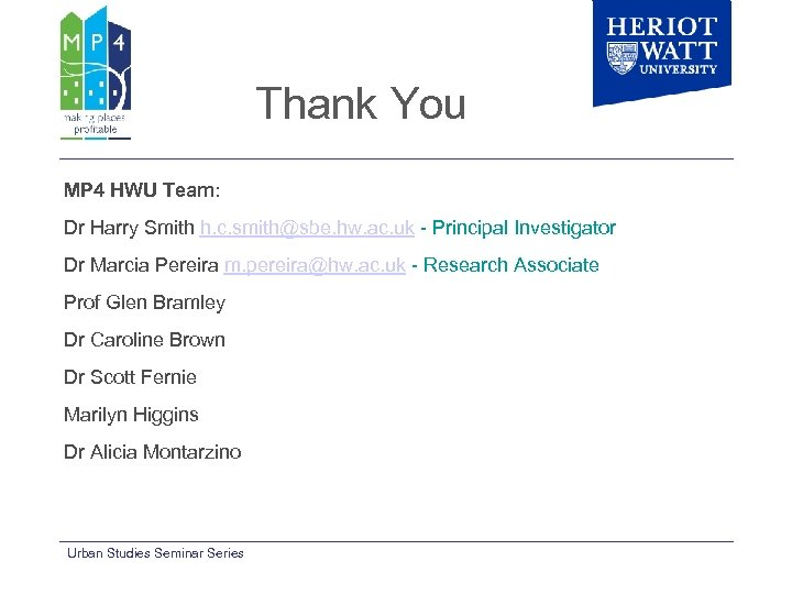 Thank You MP 4 HWU Team: Dr Harry Smith h. c. smith@sbe. hw. ac.