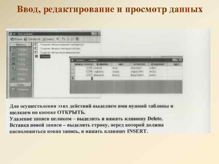 Ввод, редактирование и просмотр данных