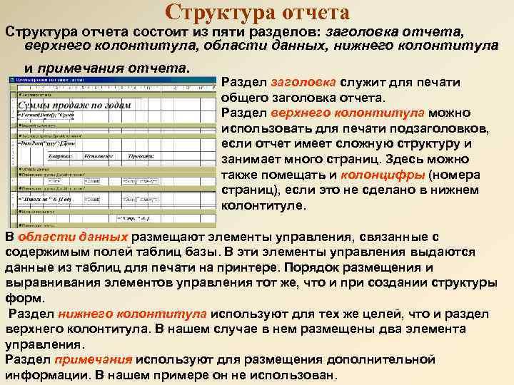 Структура отчета состоит из пяти разделов: заголовка отчета, верхнего колонтитула, области данных, нижнего колонтитула