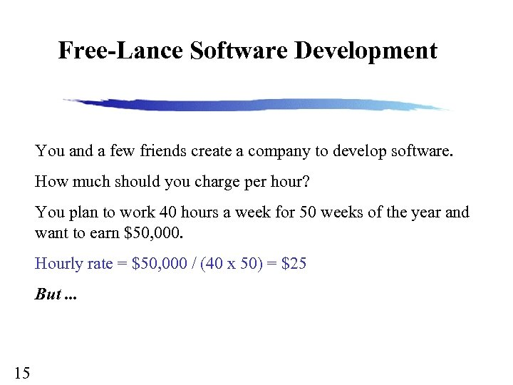 Free-Lance Software Development You and a few friends create a company to develop software.