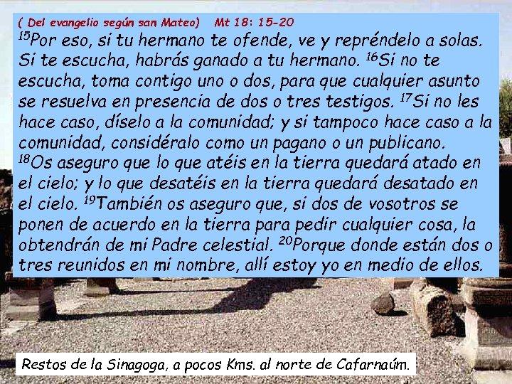 ( Del evangelio según san Mateo) Mt 18: 15 -20 15 Por eso, si