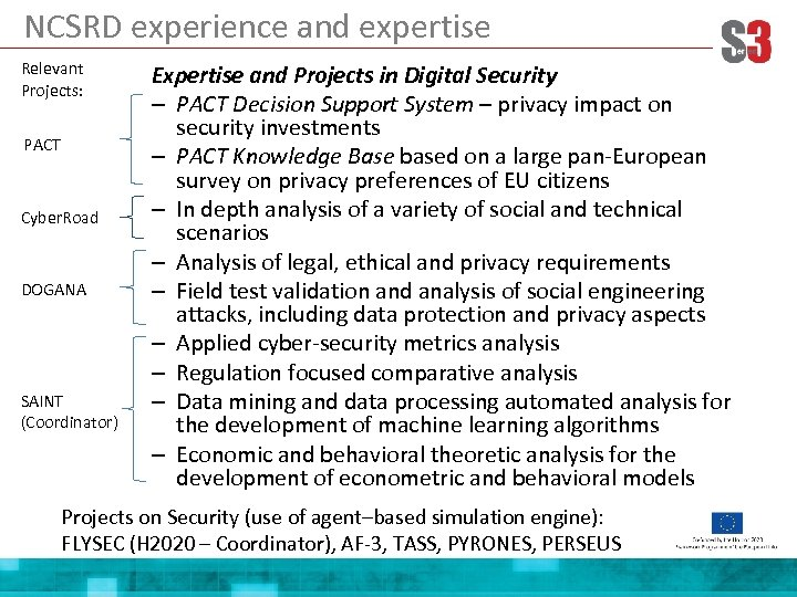 NCSRD experience and expertise Relevant Projects: PACT Cyber. Road DOGANA SAINT (Coordinator) Expertise and