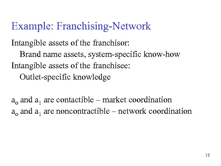 Example: Franchising-Network Intangible assets of the franchisor: Brand name assets, system-specific know-how Intangible assets