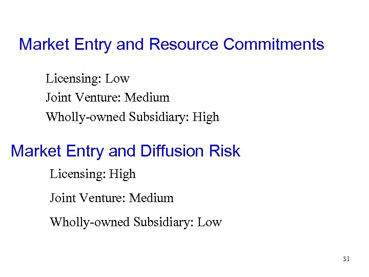 Market Entry and Resource Commitments Licensing: Low Joint Venture: Medium Wholly-owned Subsidiary: High Market