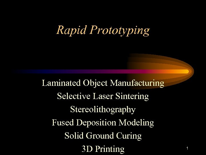 Rapid Prototyping Laminated Object Manufacturing Selective Laser Sintering Stereolithography Fused Deposition Modeling Solid Ground