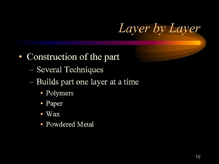 Layer by Layer • Construction of the part – Several Techniques – Builds part
