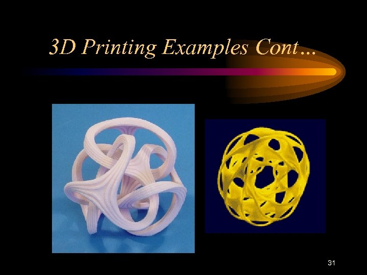 3 D Printing Examples Cont… 31