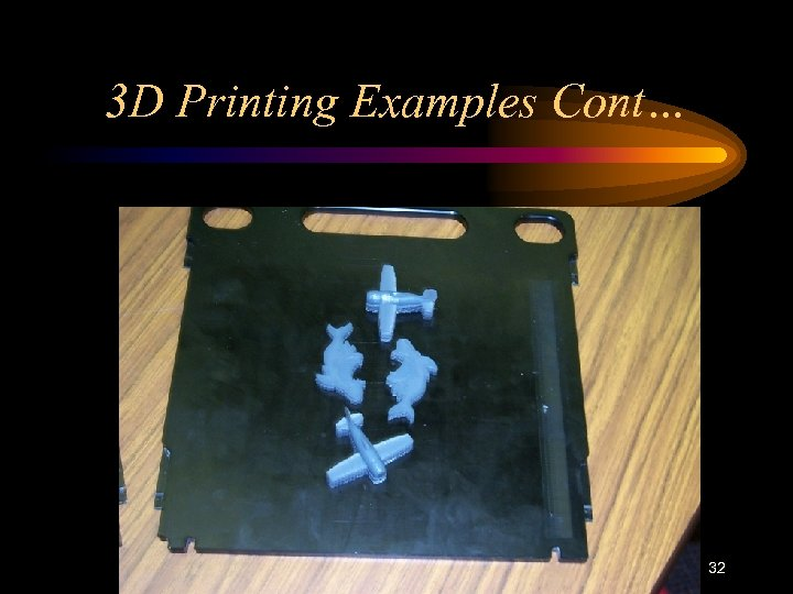 3 D Printing Examples Cont… 32