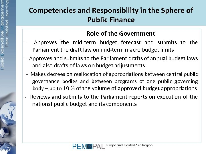 Competencies and Responsibility in the Sphere of Public Finance Role of the Government -