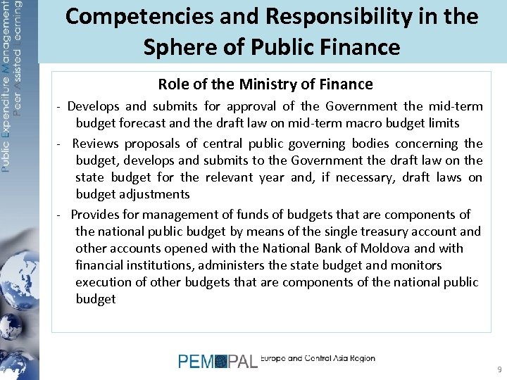 Competencies and Responsibility in the Sphere of Public Finance Role of the Ministry of