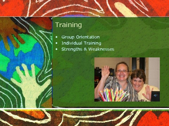 Training • Group Orientation • Individual Training • Strengths & Weaknesses