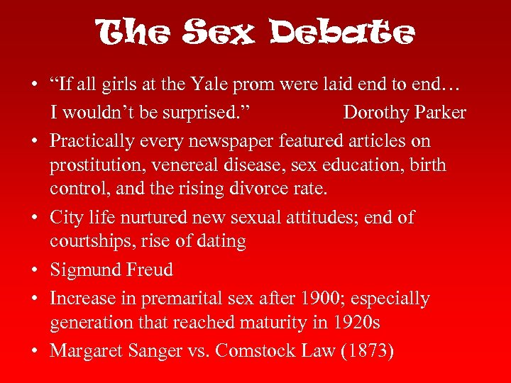 "The Sex Debate • ""If all girls at the Yale prom were laid end"