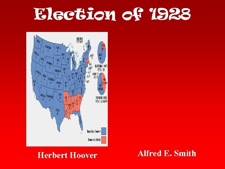 Election of 1928 Herbert Hoover Alfred E. Smith