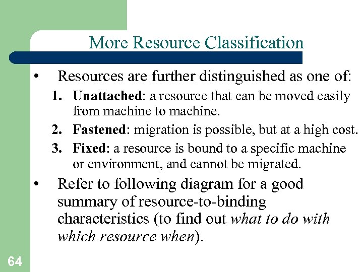 More Resource Classification • Resources are further distinguished as one of: 1. Unattached: a