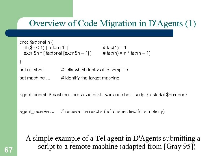 Overview of Code Migration in D'Agents (1) proc factorial n { if ($n 1)