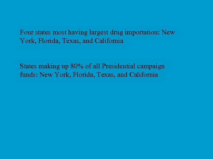 Four states most having largest drug importation: New York, Florida, Texas, and California States