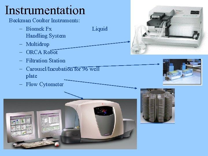 Instrumentation Beckman Coulter Instruments: – Biomek Fx Liquid Handling System – Multidrop – ORCA