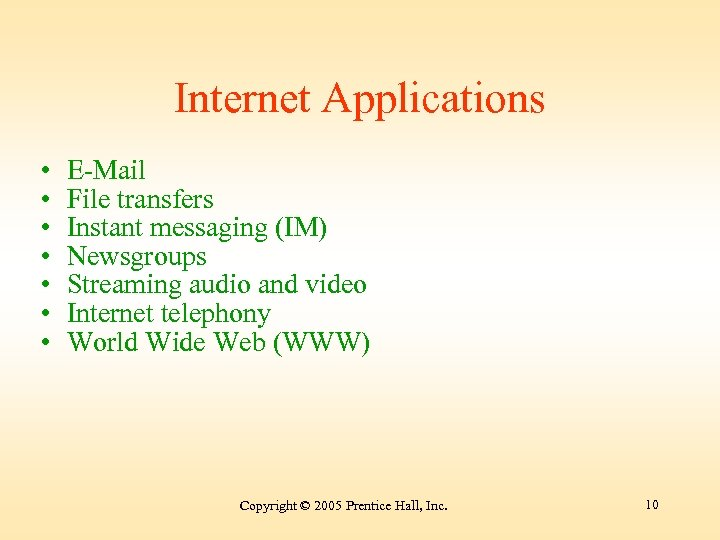 Internet Applications • • E-Mail File transfers Instant messaging (IM) Newsgroups Streaming audio and