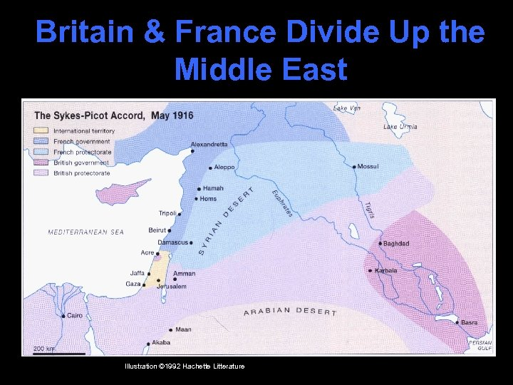 Britain & France Divide Up the Middle East Illustration © 1992 Hachette Litterature