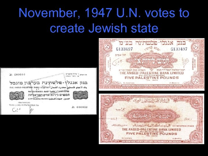 November, 1947 U. N. votes to create Jewish state