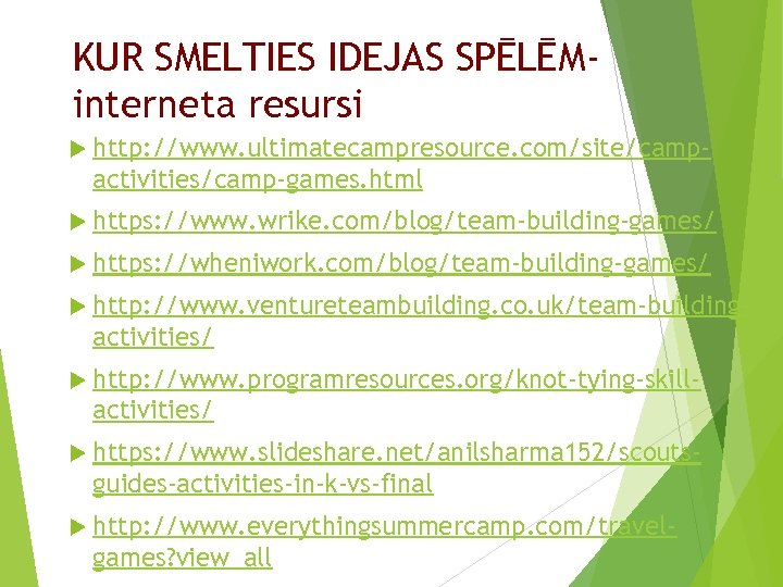 KUR SMELTIES IDEJAS SPĒLĒMinterneta resursi http: //www. ultimatecampresource. com/site/camp- activities/camp-games. html https: //www. wrike.