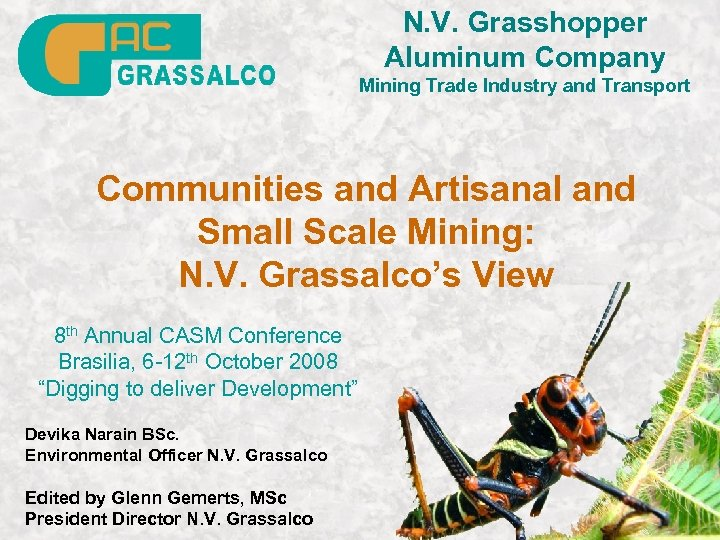 N. V. Grasshopper Aluminum Company Mining Trade Industry and Transport Communities and Artisanal and