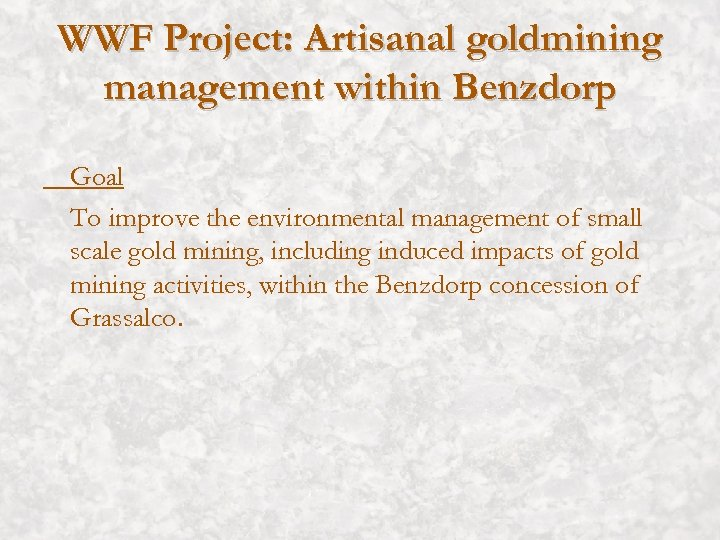 WWF Project: Artisanal goldmining management within Benzdorp Goal To improve the environmental management of