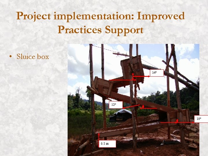 Project implementation: Improved Practices Support • Sluice box 14° 12° 10° 0. 5 m