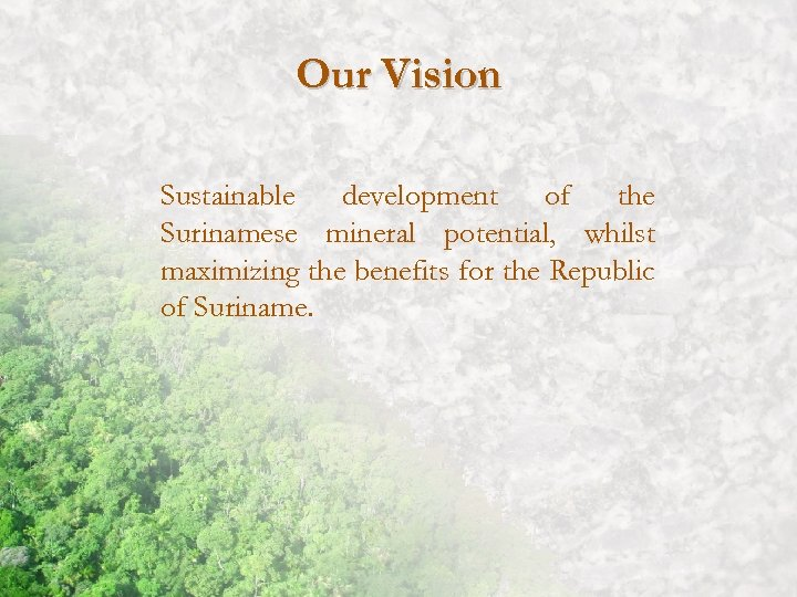 Our Vision Sustainable development of the Surinamese mineral potential, whilst maximizing the benefits for