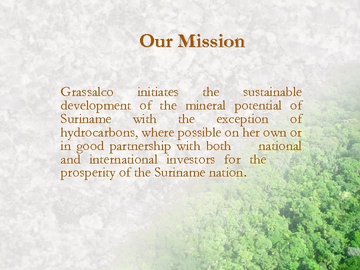 Our Mission Grassalco initiates the sustainable development of the mineral potential of Suriname with