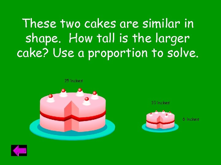 These two cakes are similar in shape. How tall is the larger cake? Use