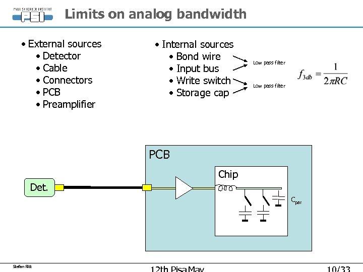 Limits on analog bandwidth • External sources • Detector • Cable • Connectors •