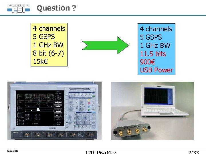 Question ? 4 channels 5 GSPS 1 GHz BW 8 bit (6 -7) 15