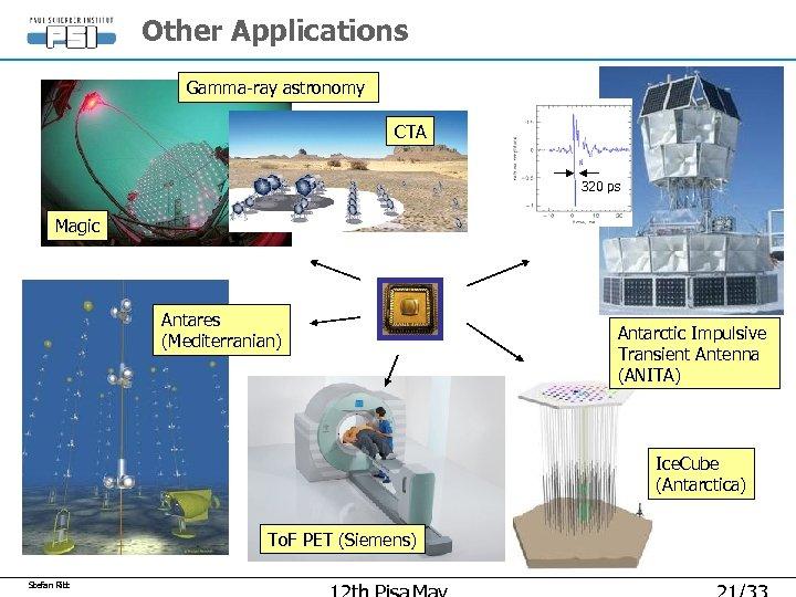 Other Applications Gamma-ray astronomy CTA 320 ps Magic Antares (Mediterranian) Antarctic Impulsive Transient Antenna