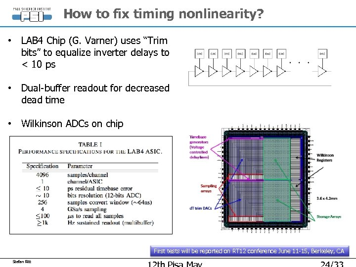 """How to fix timing nonlinearity? • LAB 4 Chip (G. Varner) uses """"Trim bits"""""""