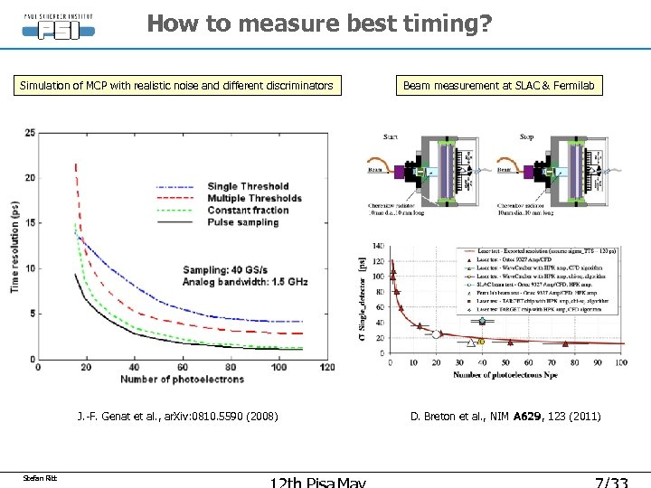 How to measure best timing? Simulation of MCP with realistic noise and different discriminators