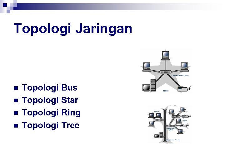 Topologi Jaringan n n Topologi Bus Topologi Star Topologi Ring Topologi Tree
