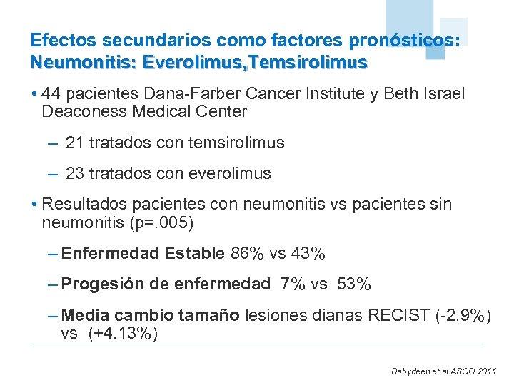 Efectos secundarios como factores pronósticos: Neumonitis: Everolimus, Temsirolimus • 44 pacientes Dana-Farber Cancer Institute